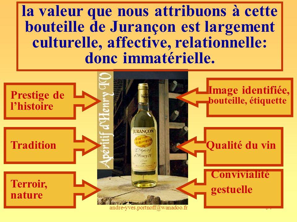 la valeur que nous attribuons à cette bouteille de Jurançon est largement culturelle, affective, relationnelle: donc immatérielle.
