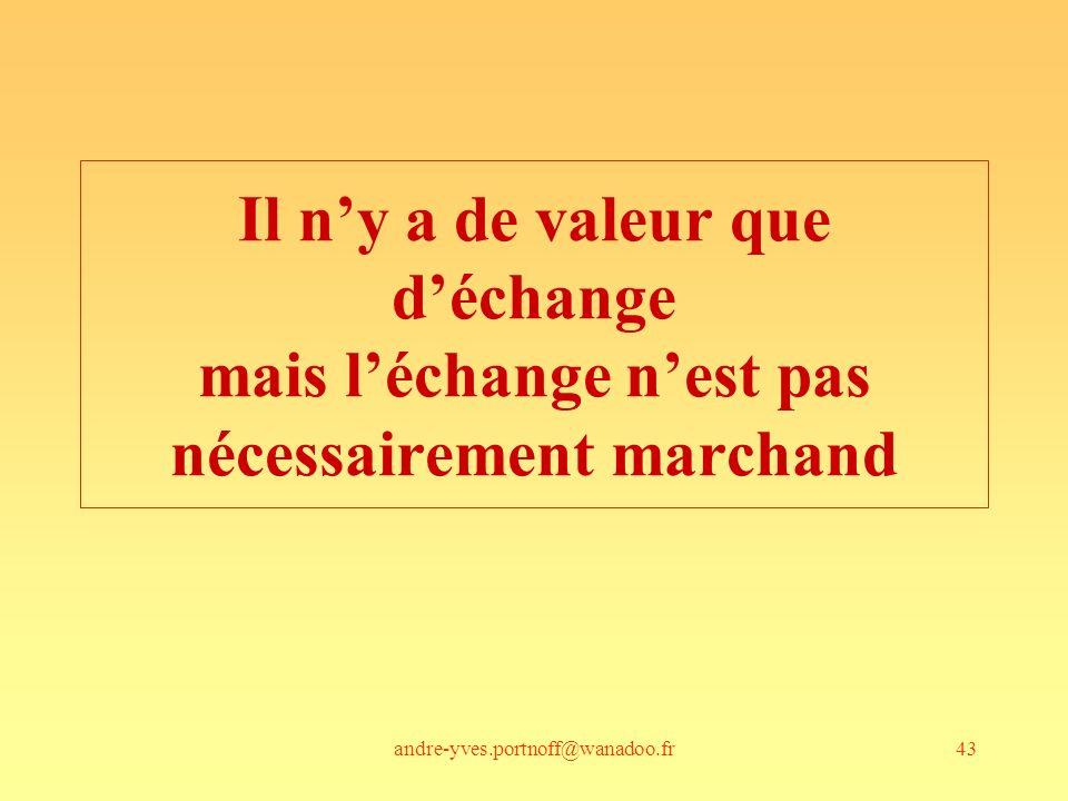 Il n'y a de valeur que d'échange mais l'échange n'est pas nécessairement marchand