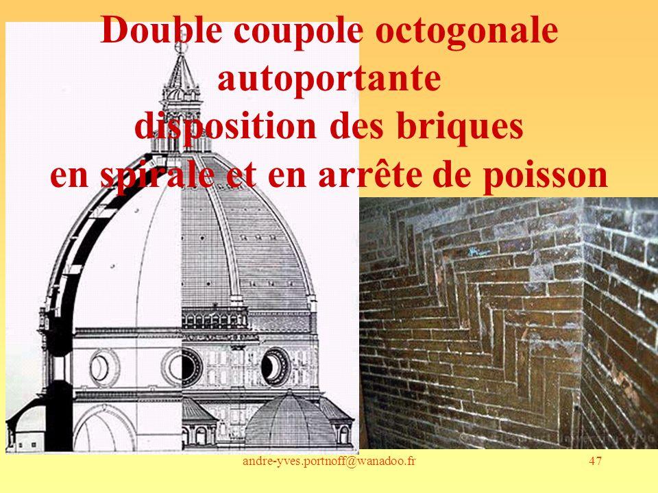 Double coupole octogonale autoportante disposition des briques