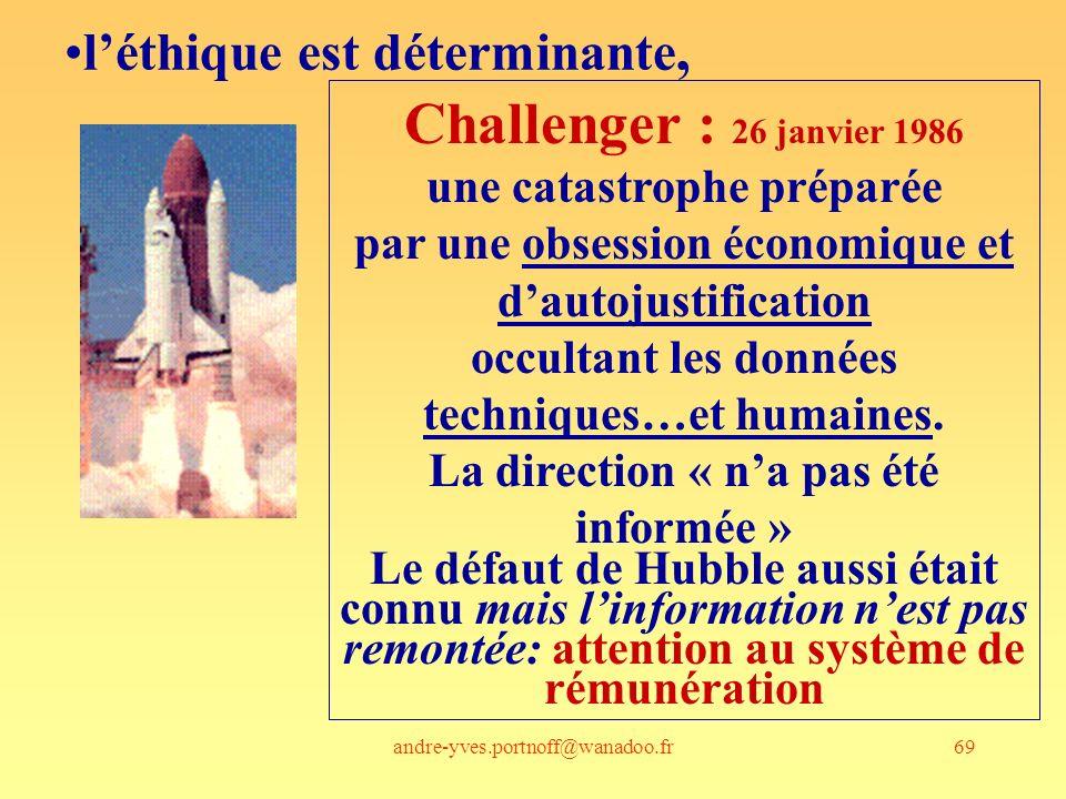 Challenger : 26 janvier 1986 l'éthique est déterminante,