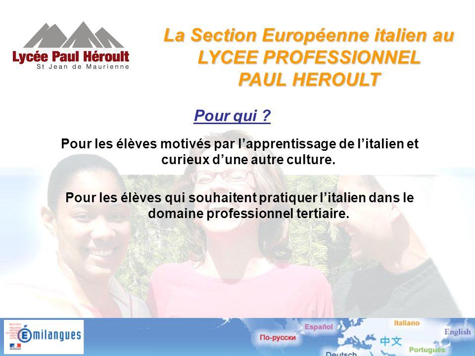 La Section Européenne italien au LYCEE PROFESSIONNEL PAUL HEROULT