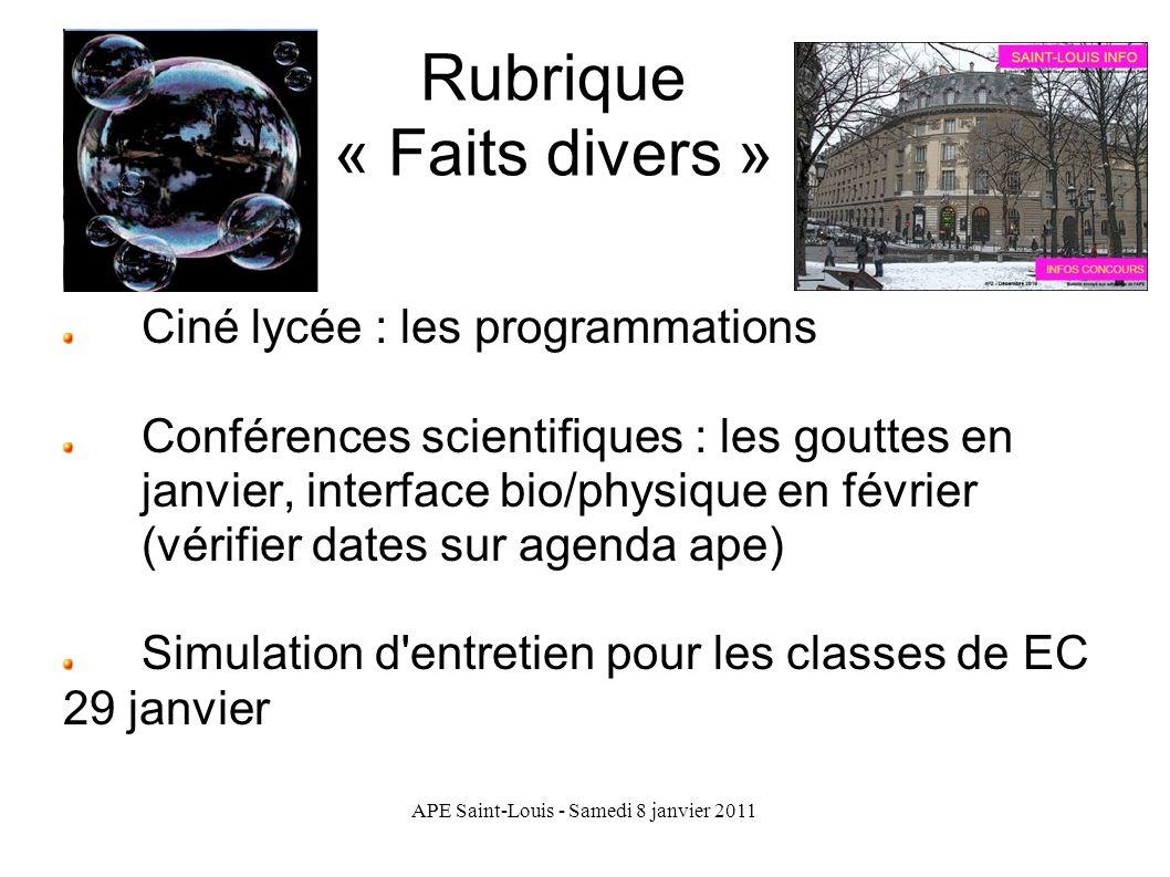 Rubrique « Faits divers »