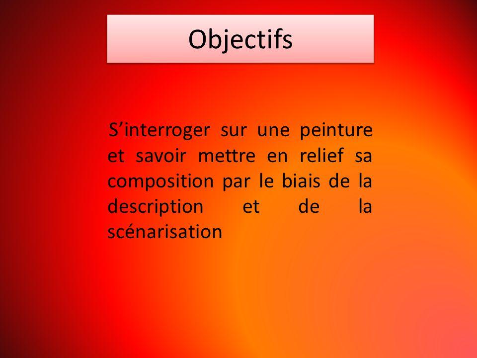 Objectifs S'interroger sur une peinture et savoir mettre en relief sa composition par le biais de la description et de la scénarisation.