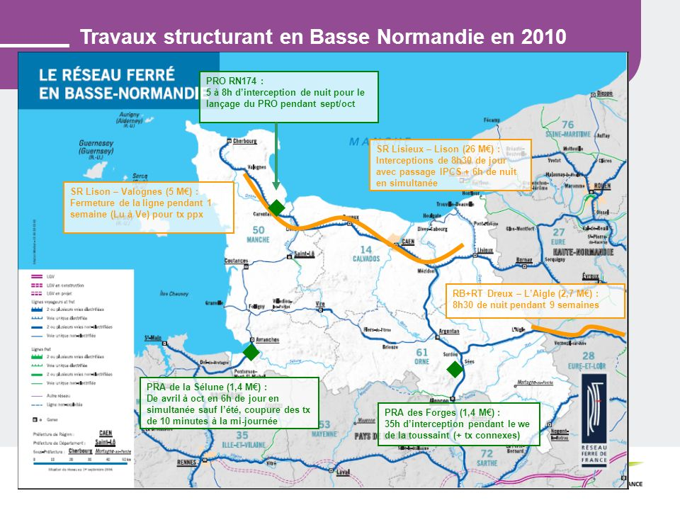 Travaux structurant en Basse Normandie en 2010
