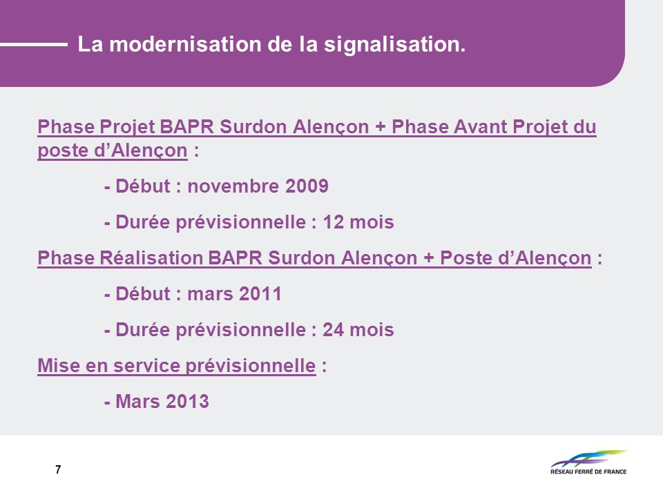 La modernisation de la signalisation.