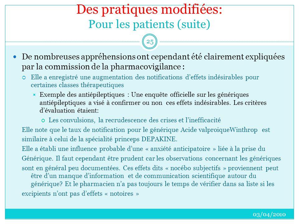 Des pratiques modifiées: Pour les patients (suite)