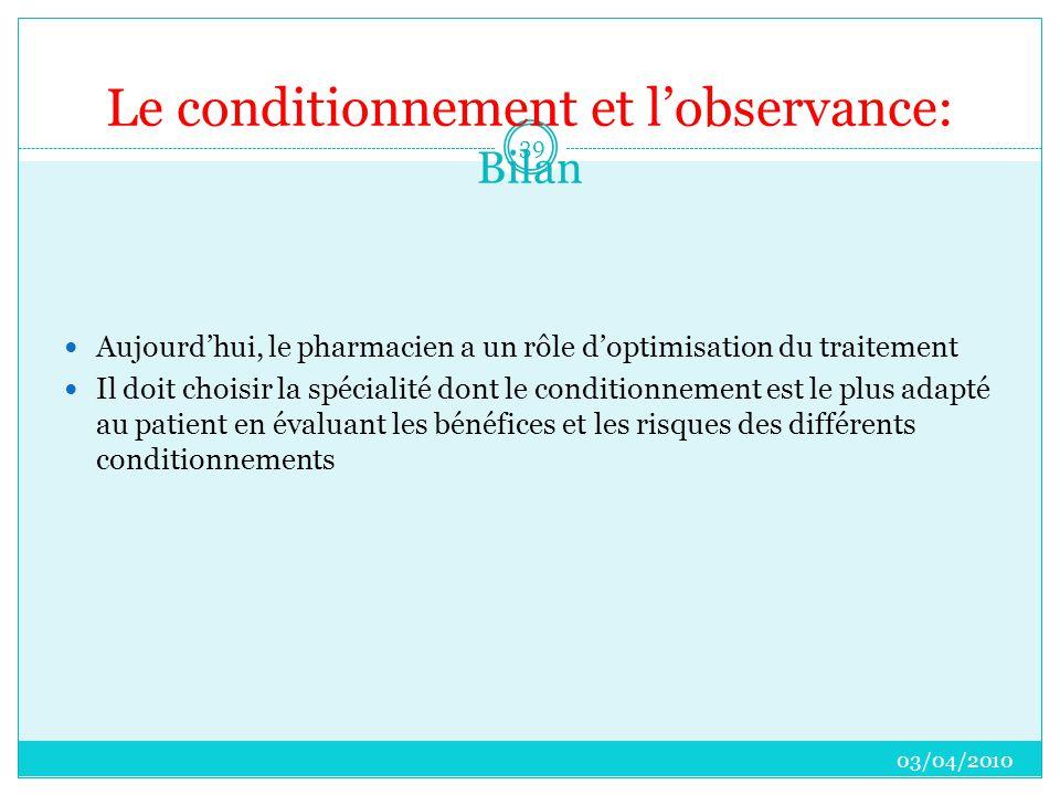 Le conditionnement et l'observance: Bilan