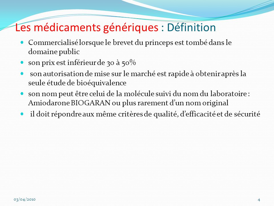Les médicaments génériques : Définition