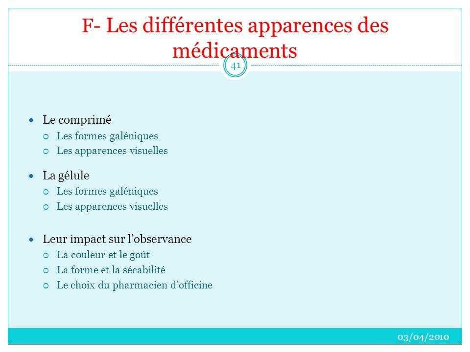 F- Les différentes apparences des médicaments