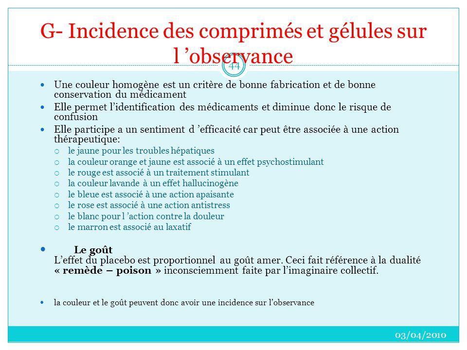 G- Incidence des comprimés et gélules sur l 'observance