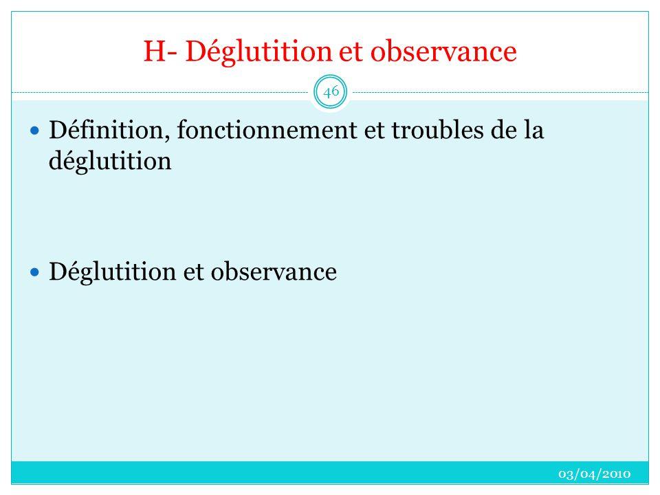 H- Déglutition et observance