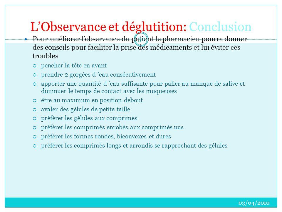 L'Observance et déglutition: Conclusion