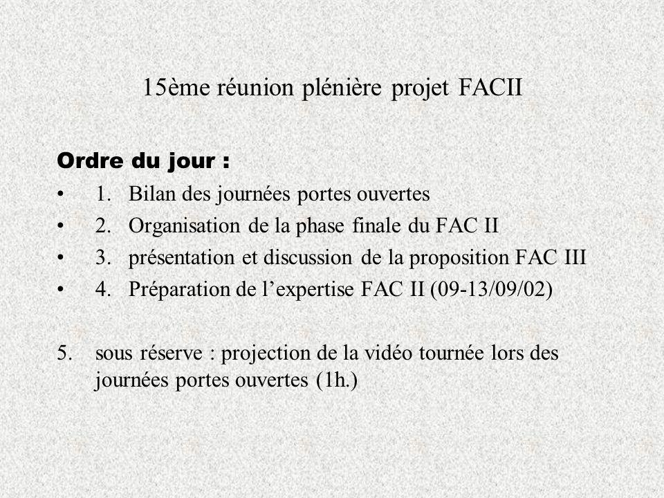 15ème réunion plénière projet FACII