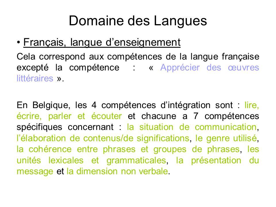 Domaine des Langues Français, langue d'enseignement