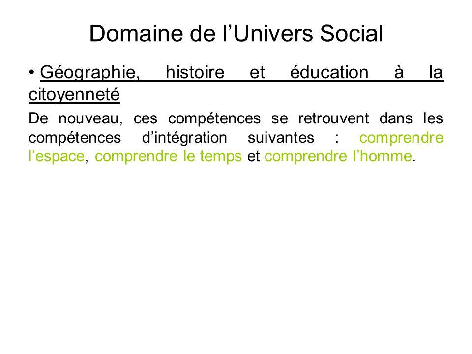 Domaine de l'Univers Social