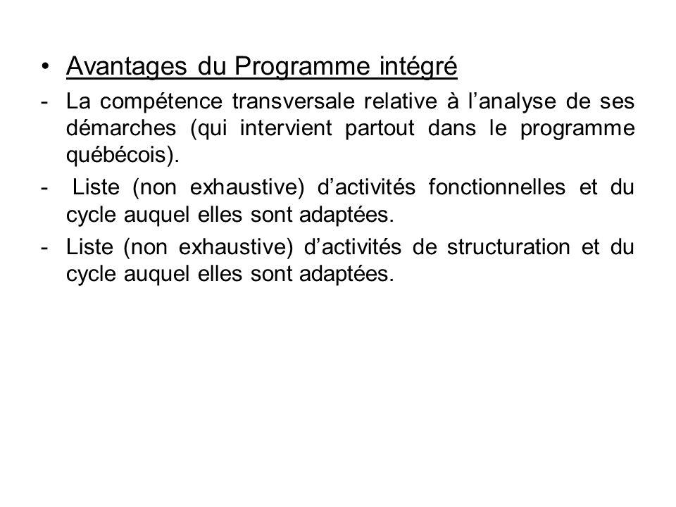 Avantages du Programme intégré