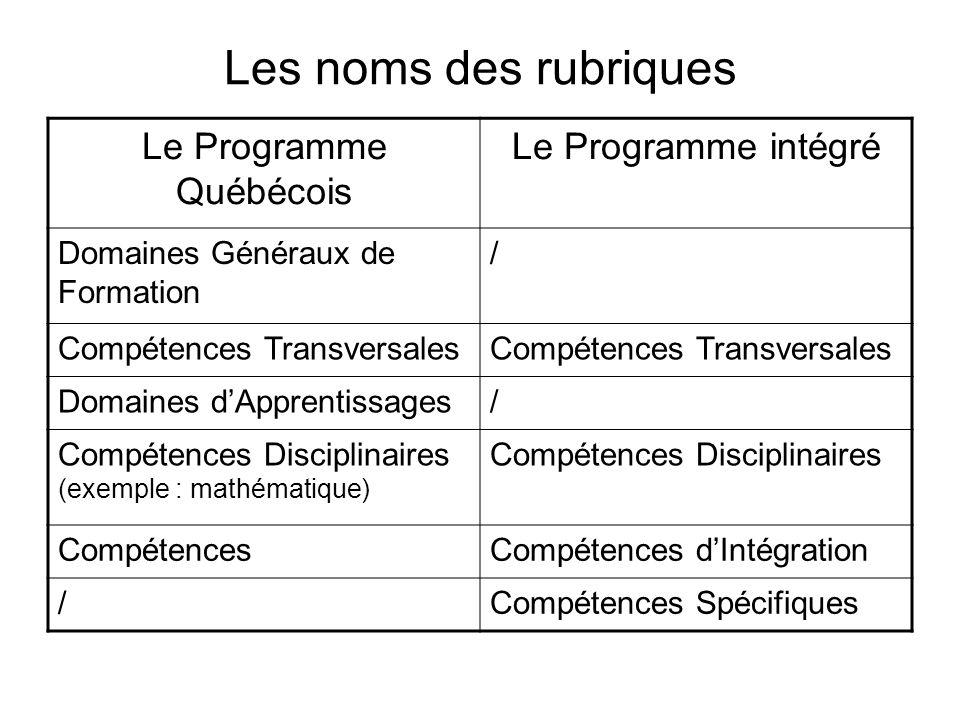 Le Programme Québécois