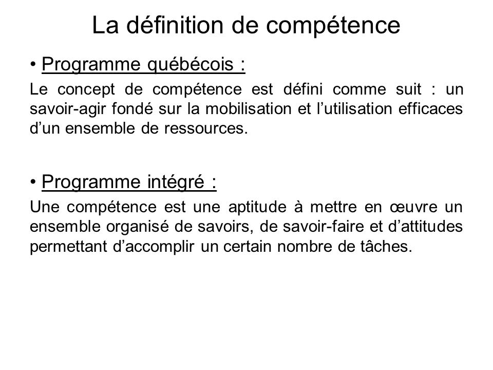 La définition de compétence