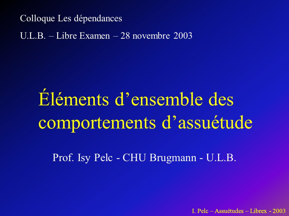 Prof. Isy Pelc - CHU Brugmann - U.L.B.
