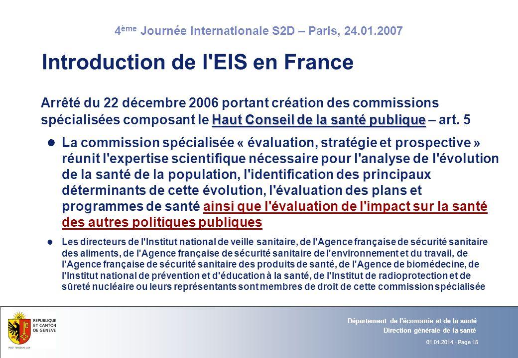 Introduction de l EIS en France