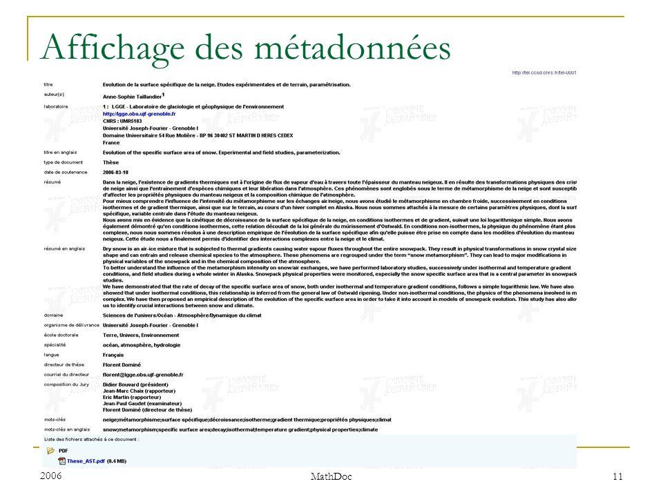 Affichage des métadonnées
