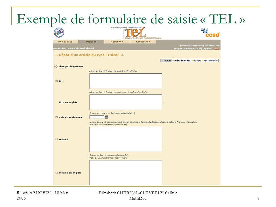 Exemple de formulaire de saisie « TEL »