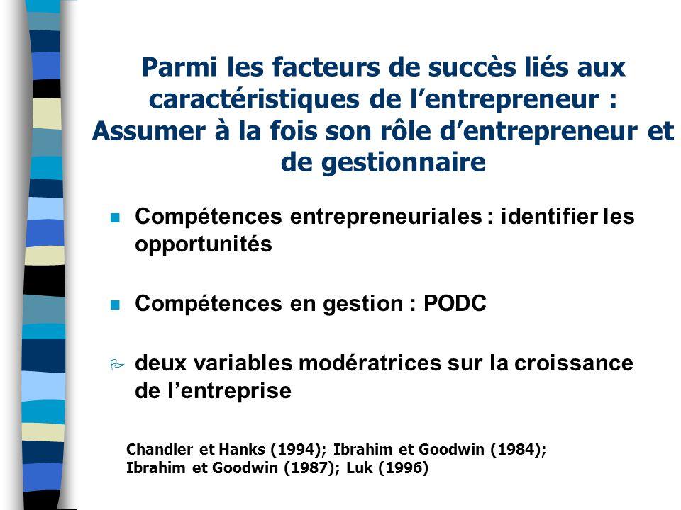 Parmi les facteurs de succès liés aux caractéristiques de l'entrepreneur : Assumer à la fois son rôle d'entrepreneur et de gestionnaire