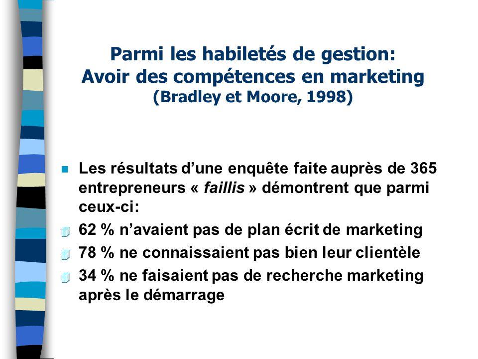 Parmi les habiletés de gestion: Avoir des compétences en marketing (Bradley et Moore, 1998)