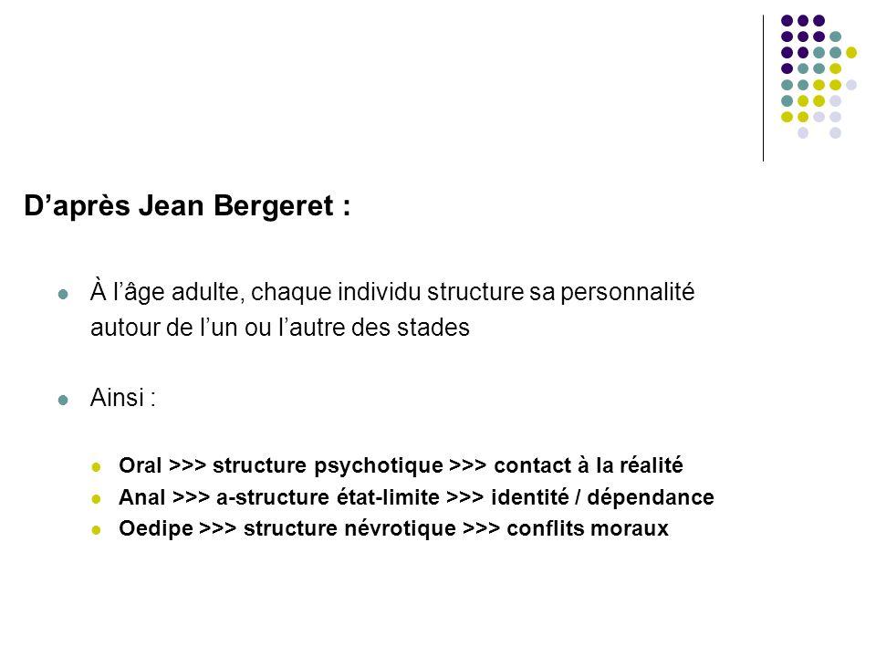 D'après Jean Bergeret :