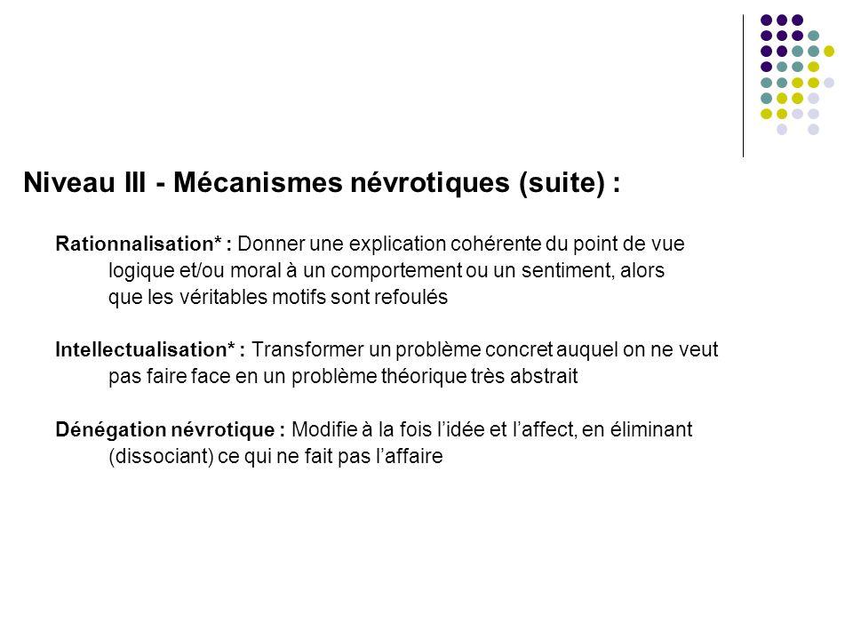 Niveau III - Mécanismes névrotiques (suite) :