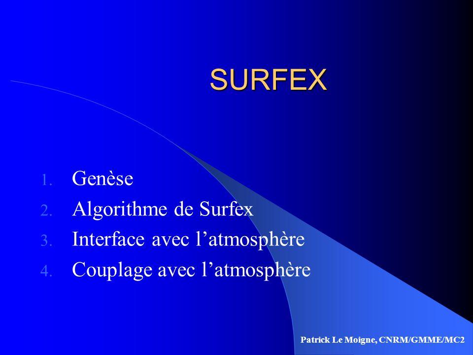 SURFEX Genèse Algorithme de Surfex Interface avec l'atmosphère