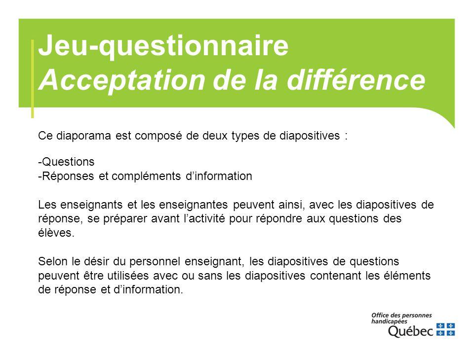 Jeu-questionnaire Acceptation de la différence
