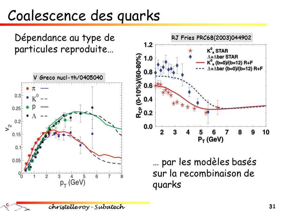 Coalescence des quarks