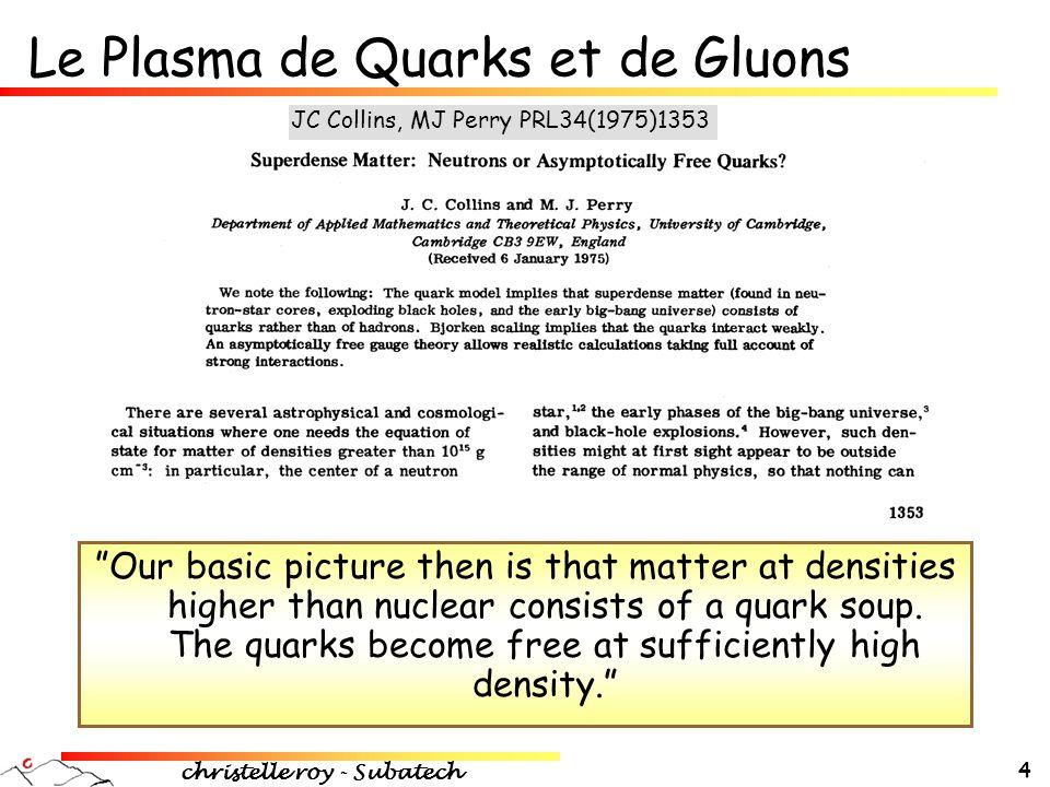 Le Plasma de Quarks et de Gluons