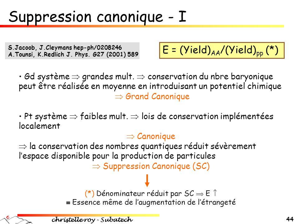 Suppression canonique - I