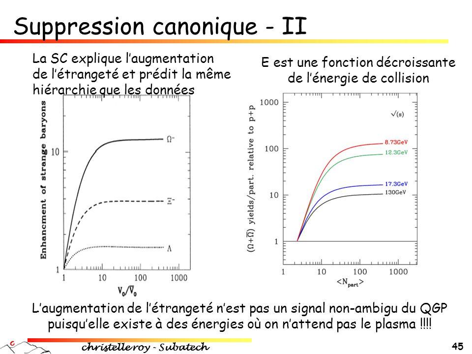 Suppression canonique - II