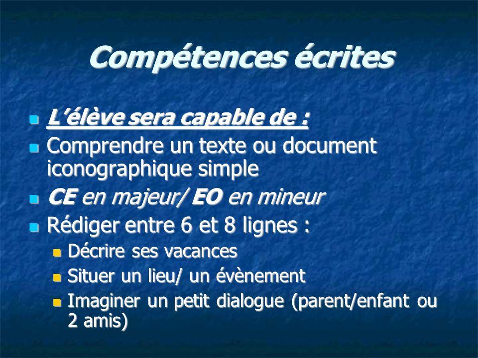 Compétences écrites L'élève sera capable de :