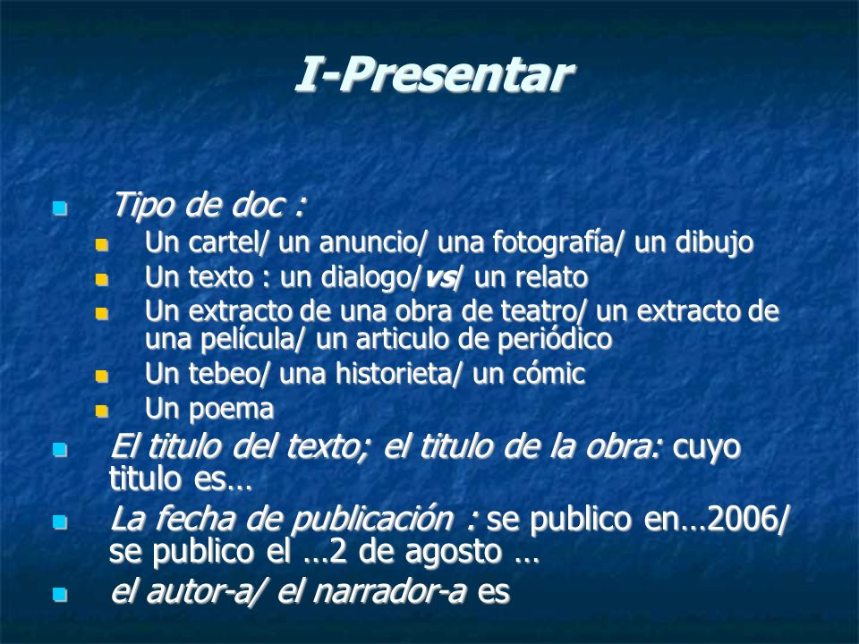 I-Presentar Tipo de doc :