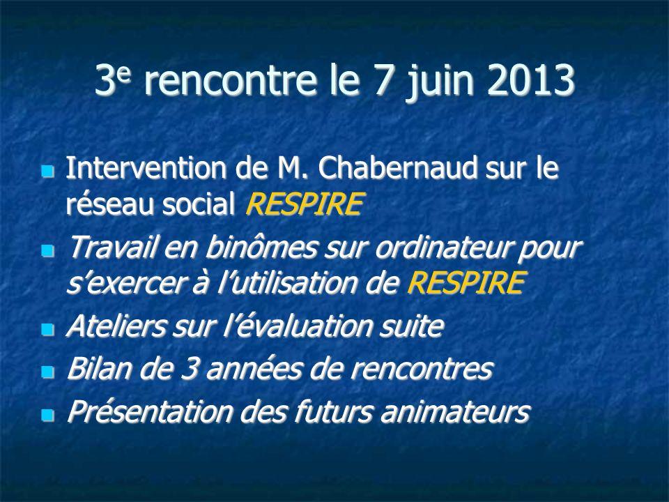 3e rencontre le 7 juin 2013 Intervention de M. Chabernaud sur le réseau social RESPIRE.