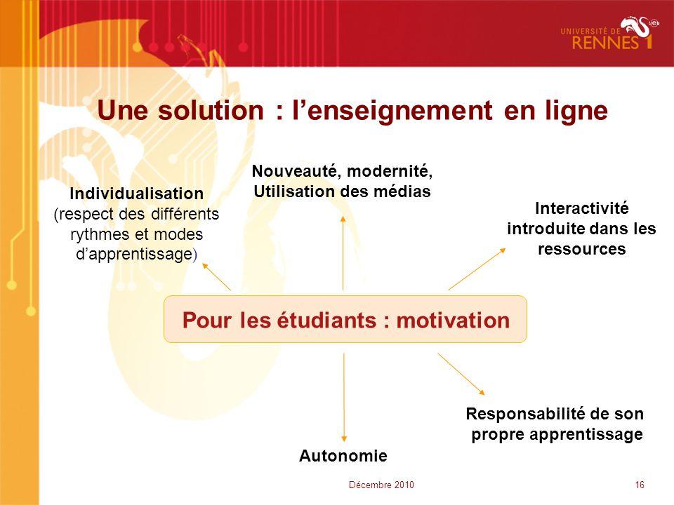 Une solution : l'enseignement en ligne