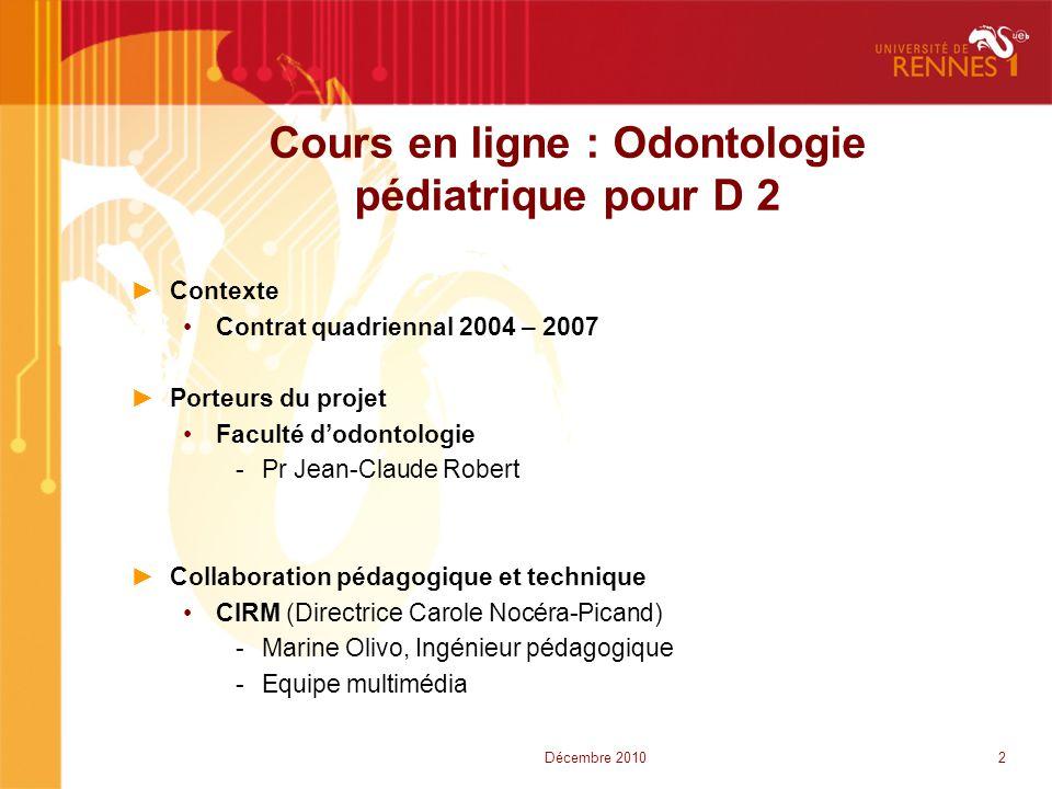 Cours en ligne : Odontologie pédiatrique pour D 2