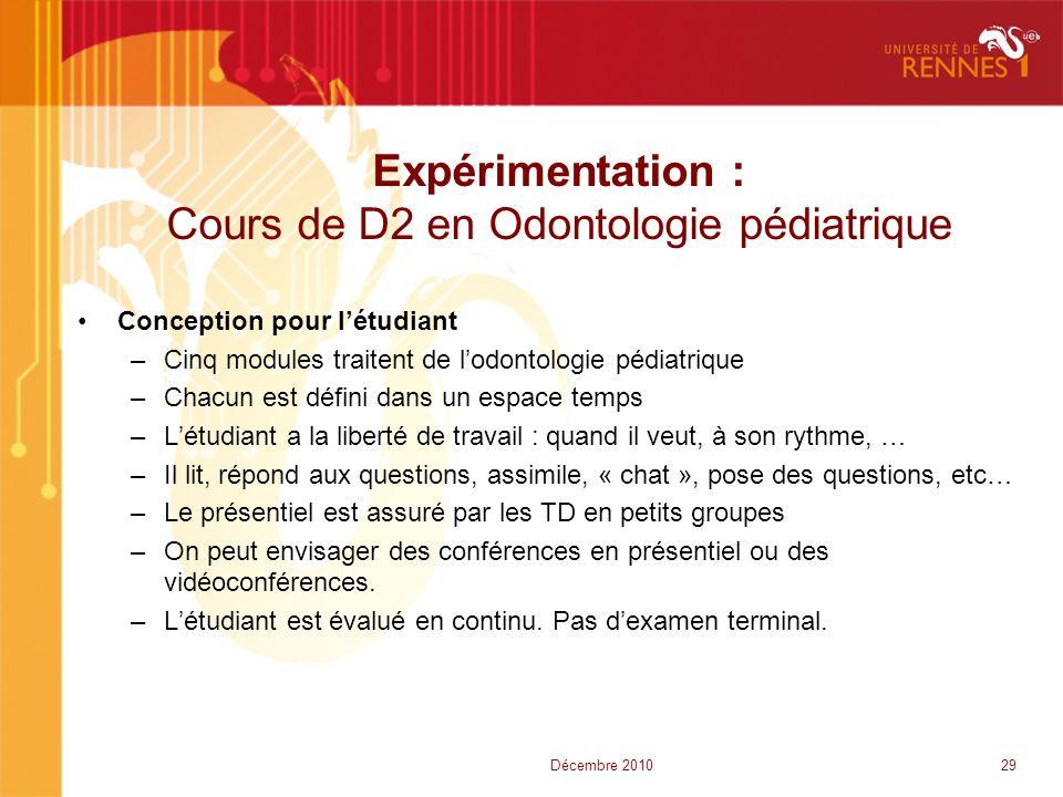 Expérimentation : Cours de D2 en Odontologie pédiatrique