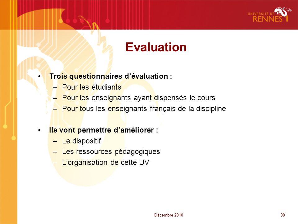 Evaluation Trois questionnaires d'évaluation : Pour les étudiants