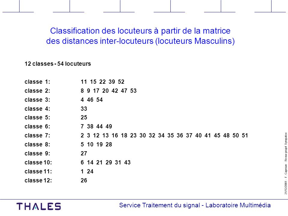 Classification des locuteurs à partir de la matrice des distances inter-locuteurs (locuteurs Masculins)