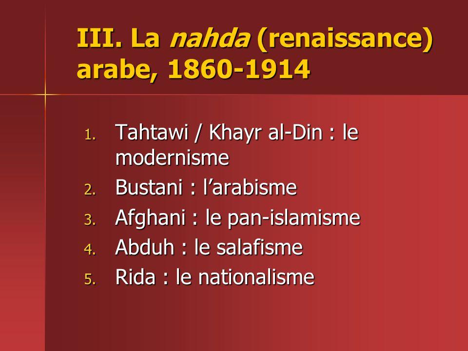 III. La nahda (renaissance) arabe, 1860-1914