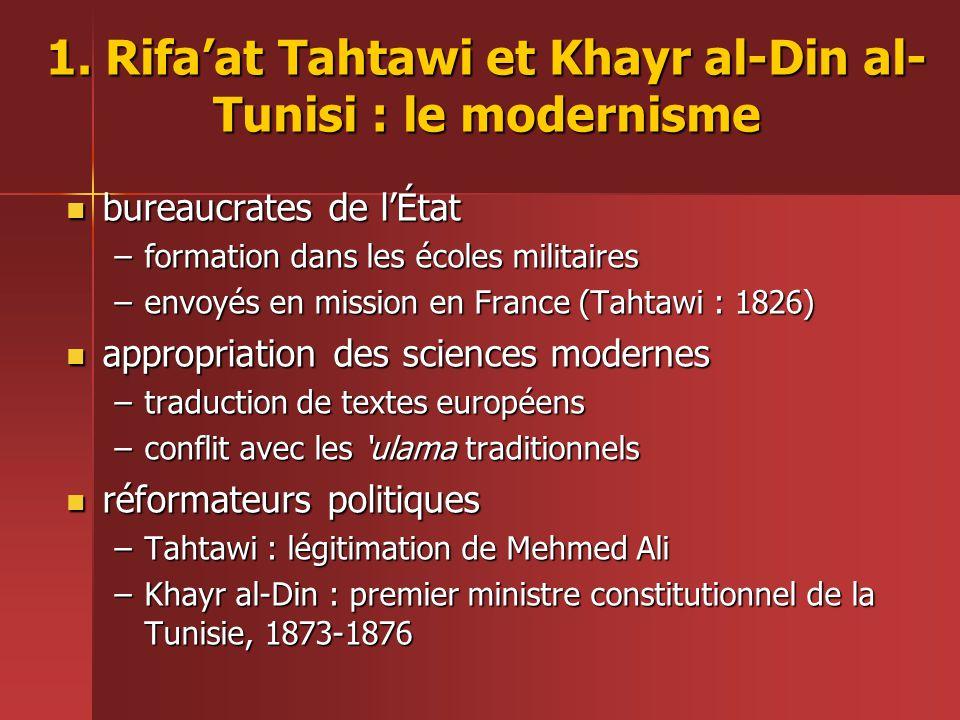 1. Rifa'at Tahtawi et Khayr al-Din al-Tunisi : le modernisme