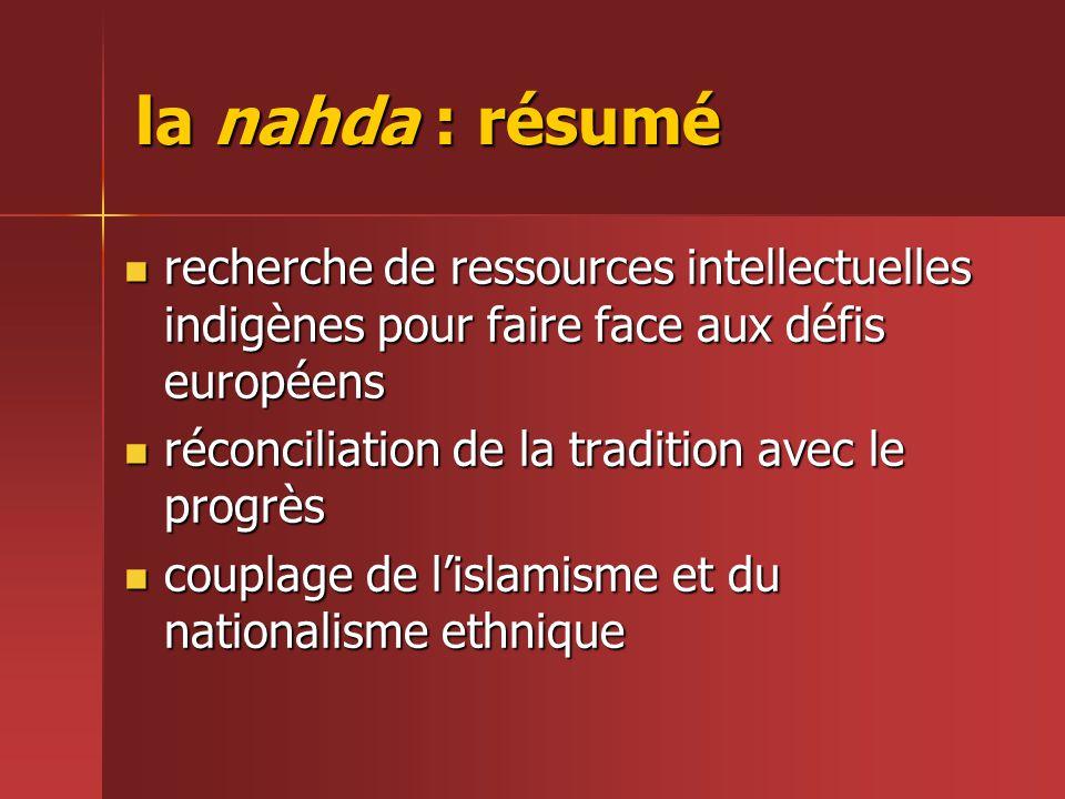 la nahda : résumé recherche de ressources intellectuelles indigènes pour faire face aux défis européens.