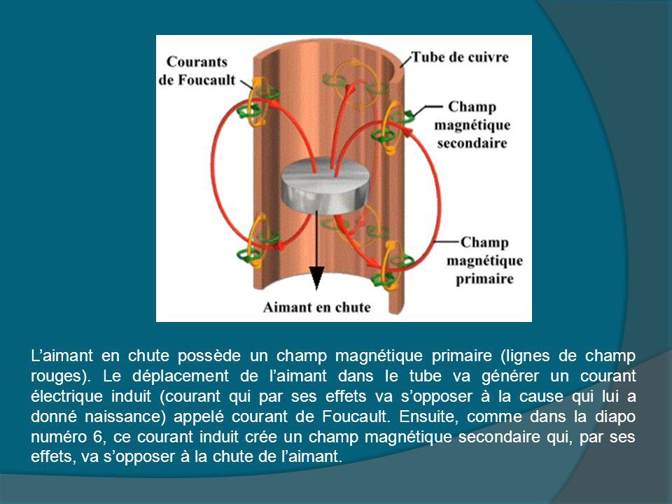 L'aimant en chute possède un champ magnétique primaire (lignes de champ rouges).