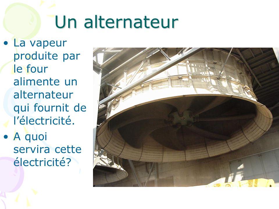 Un alternateur La vapeur produite par le four alimente un alternateur qui fournit de l'électricité.