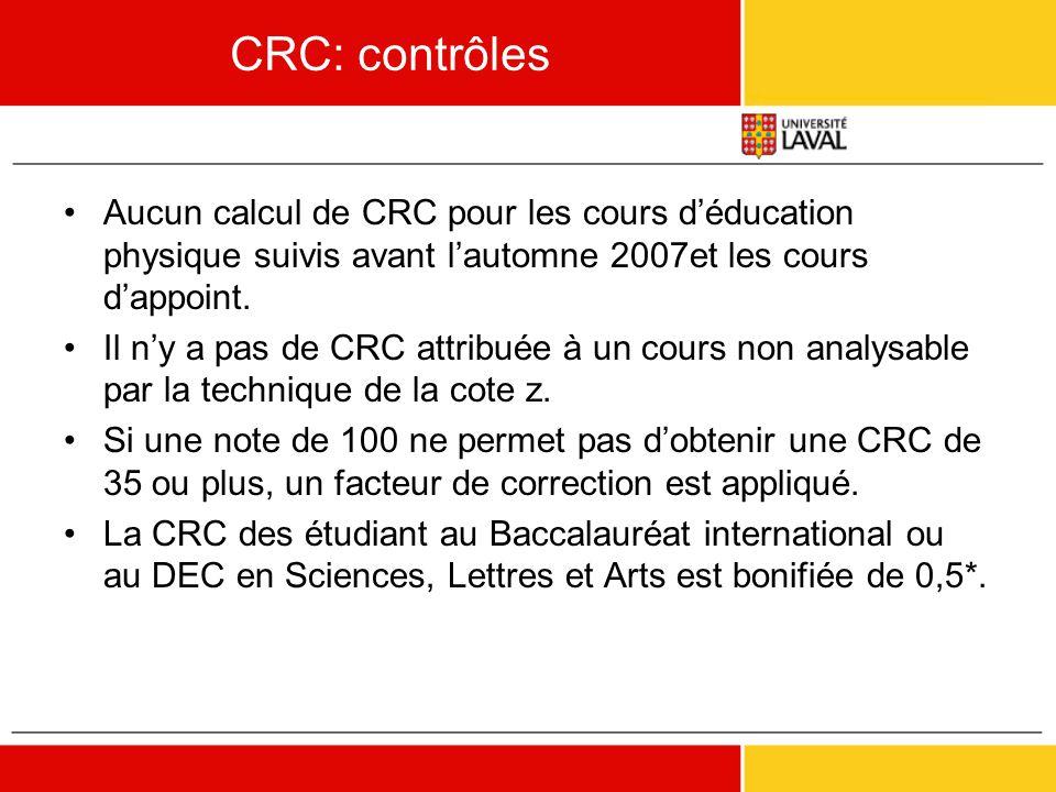CRC: contrôles Aucun calcul de CRC pour les cours d'éducation physique suivis avant l'automne 2007et les cours d'appoint.